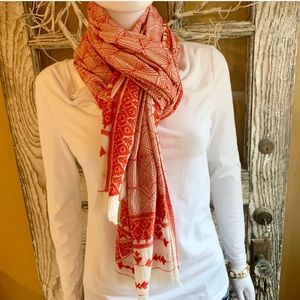 Lucky Brand Red and White Scarf